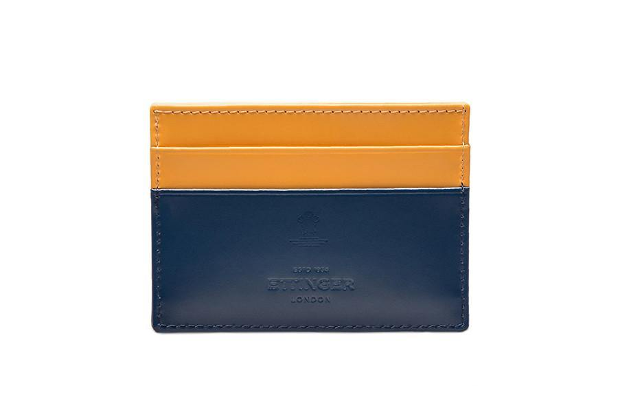 Bridle Hide Flat Card Case - Petrol Blue (Personalisation) - onlybrown