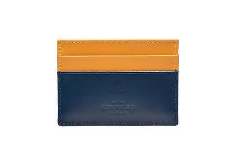 Bridle Hide Flat Card Case - Petrol Blue (Personalisation)