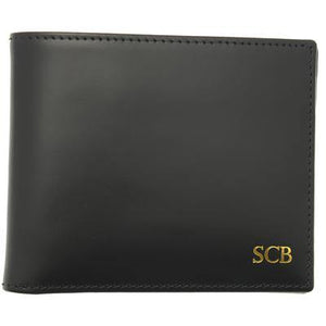 Bridle Hide Billfold With Coin Pocket - Black (Personalisation) - onlybrown