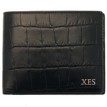 Croc Billfold - Ebony (Personalisation) - onlybrown