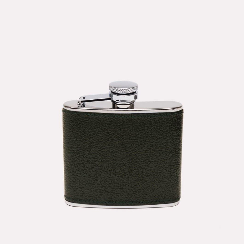 Capra Leather Wrapped Hip Flask (4oz) - onlybrown
