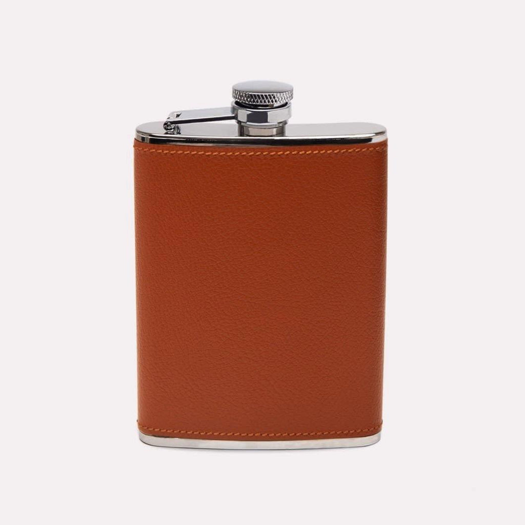 Capra Leather Wrapped Hip Flask (6oz) - onlybrown