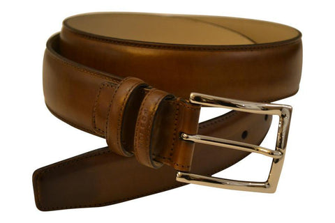 Mid Brown Hand-Painted Dress Belt - onlybrown