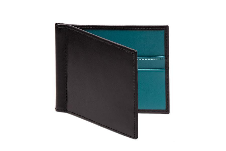 Sterling Turquoise Money Clip Wallet (Personalisation) - onlybrown