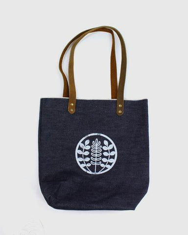 Small Navy Denim Tote