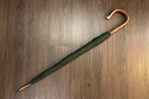 Solid Stick Chestnut Umbrella - Dark Forest Green