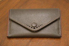 Buttoned Card Case - Olive Chèvre
