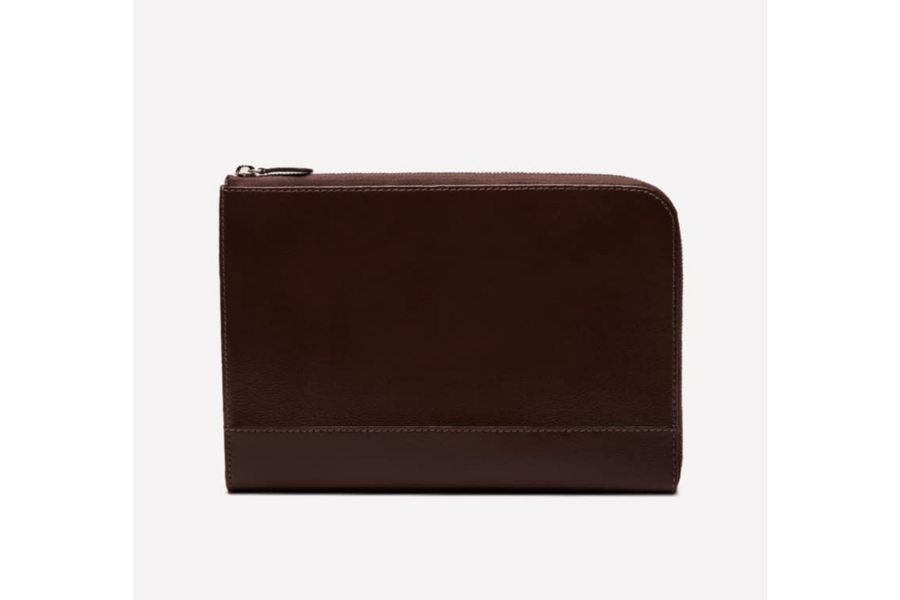 Capra Medium Zip Clutch - Chocolate