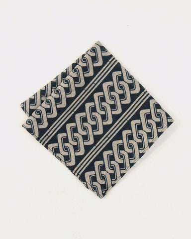 Navy Yoshiwara Shima Pocket Square