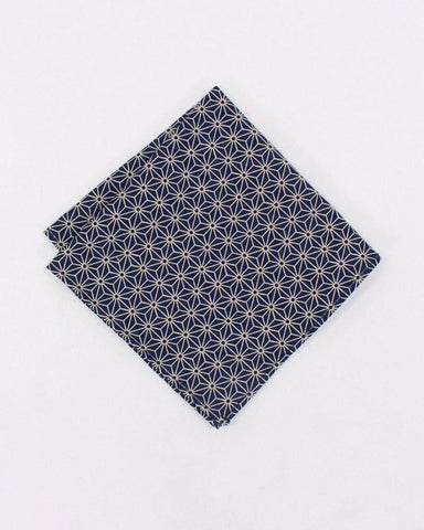 Indigo Asanoha Pocket Square