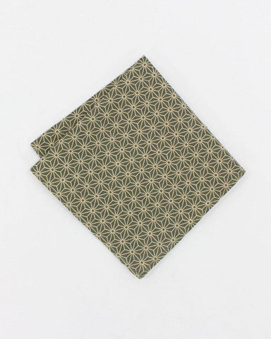 Olive Asanoha Pocket Square
