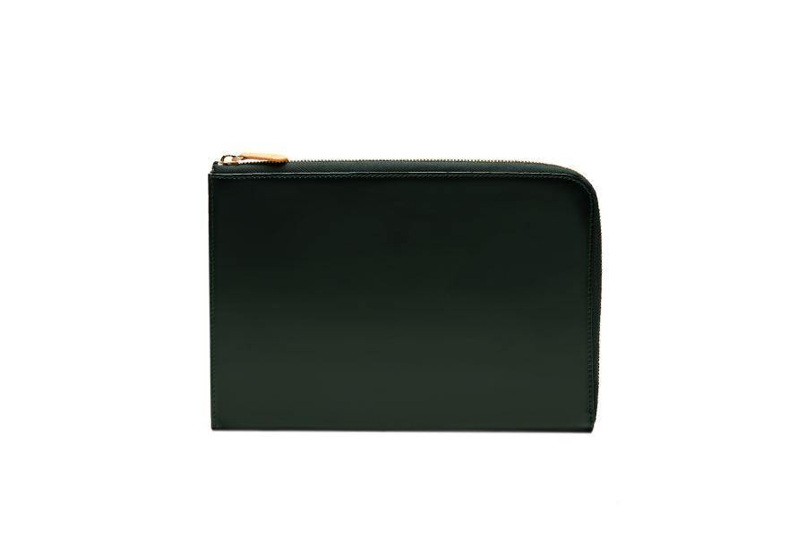 Bridle Hide Medium Zip Clutch - Green