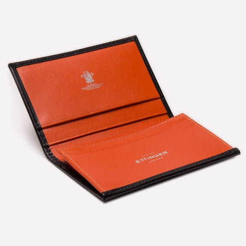 Sterling Visiting Card Case - Orange (Personalisation) - - Silver Foiled -