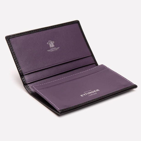 Sterling Visiting Card Case - Purple (Personalisation) - - Silver Foiled -