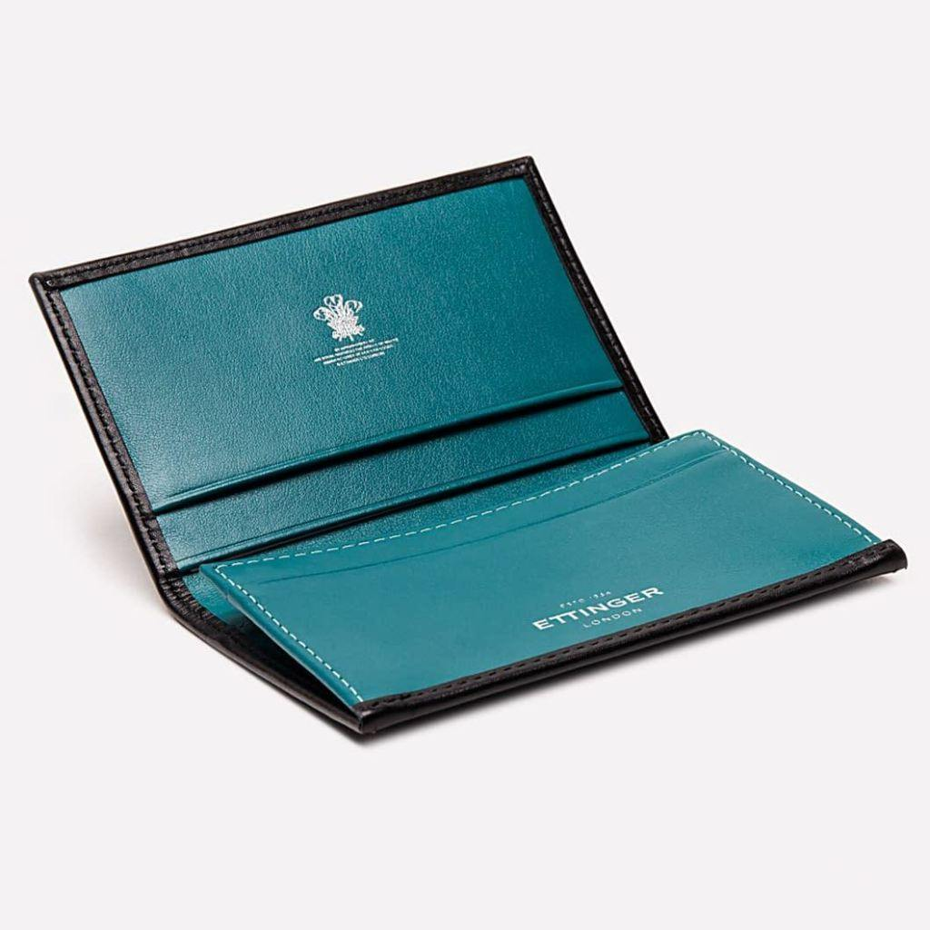 Sterling Visiting Card Case - Turquoise (Personalisation) - - Silver Foiled -
