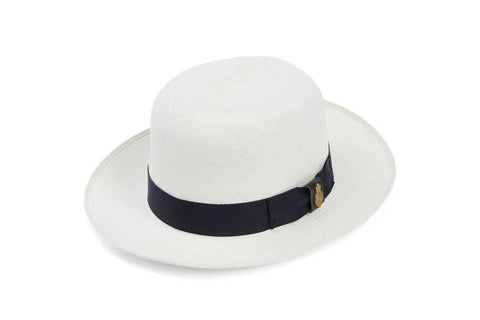 Superfine Folder Panama Hat - Navy Band - 57 - Hats