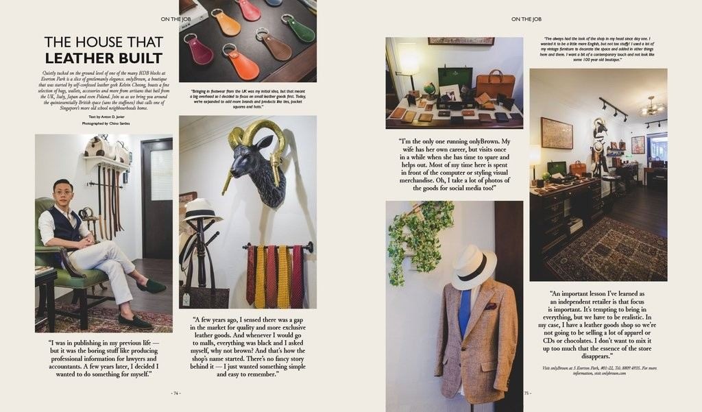 onlyBrown feature in Catalog Magazine, Singapore.