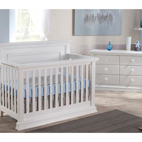 Pali Modena Collection 2 Piece Nursery Set in Vintage White - Crib and Double Dresser - Freddie and Sebbie
