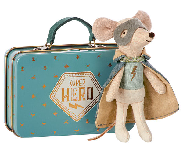 Maileg . Super Hero Mouse in Suitcase