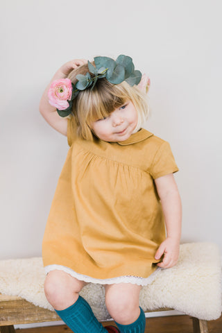 Little Cotton Clothes . Amelie Smock Dress . Mustard