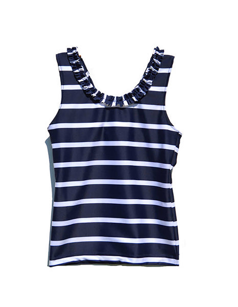 Petit Crabe Tankini Top with Ruffle . Navy Stripe