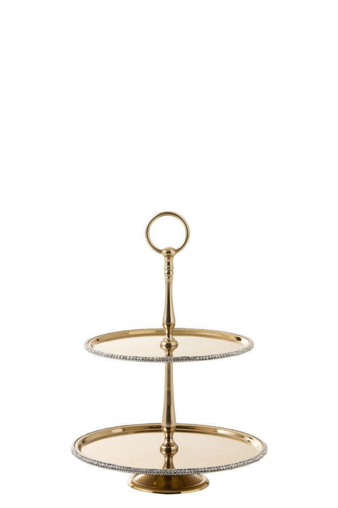 2 Tier jewelled gold metal serving tray