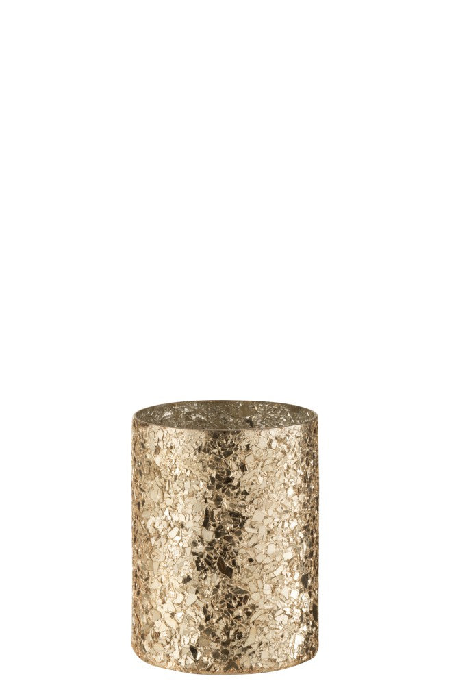 Broken glass gold candle cylinder