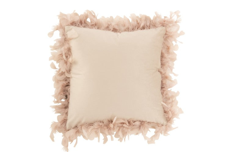 Feather velvet cushion powder pink