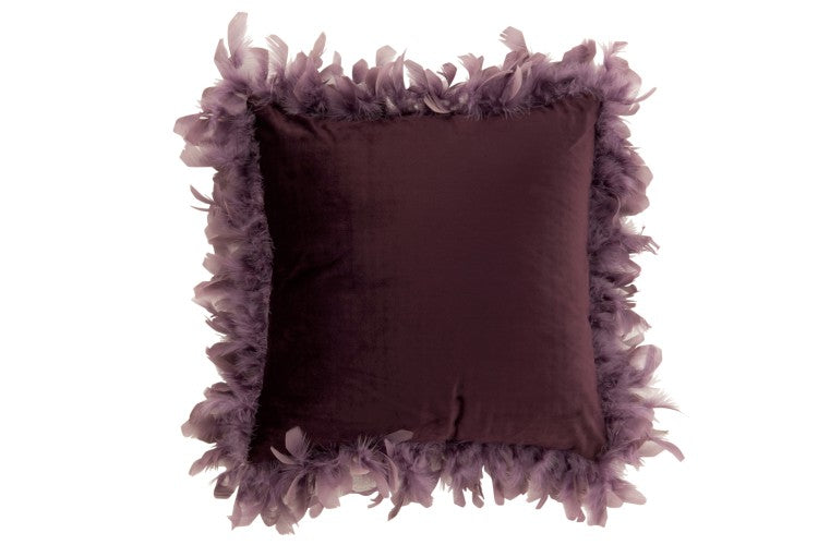 Feather velvet cushion purple