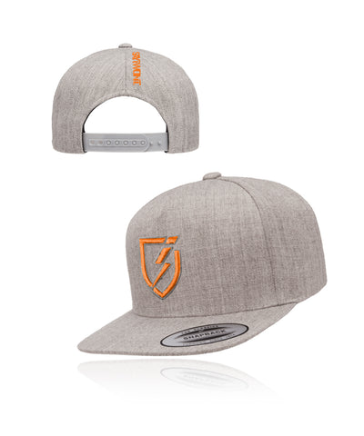 Blitz.0 Solid Snapback - Heather Gray n Orange