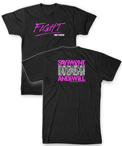 FiGHT.0 Unisex Creed Tee - Charcoal w PiNK
