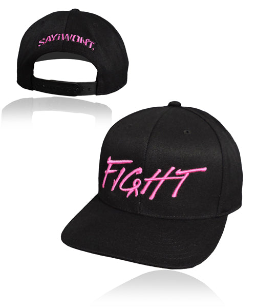 FiGHT.0 Solid Snapback - Black w PiNK