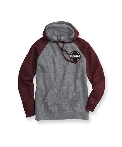 Burst Raglan Hoodie - Maroon and Gray
