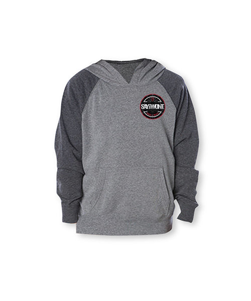 Burst Raglan Youth Hoodie - Charcoal and Gray