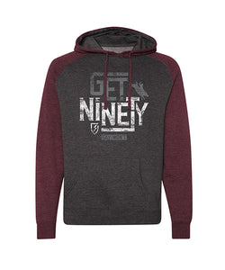 Get Ninety Raglan Hoodie - Maroon and Charcoal Heather