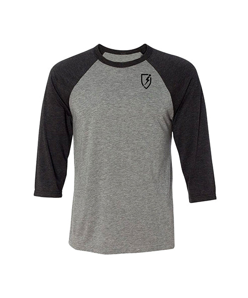 Blitz 3-4 Sleeve Unisex Baseball Tee - Heather Gray w Black