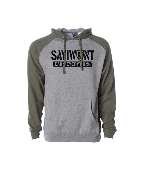 Outlyer Raglan Hoodie - Army and Gray