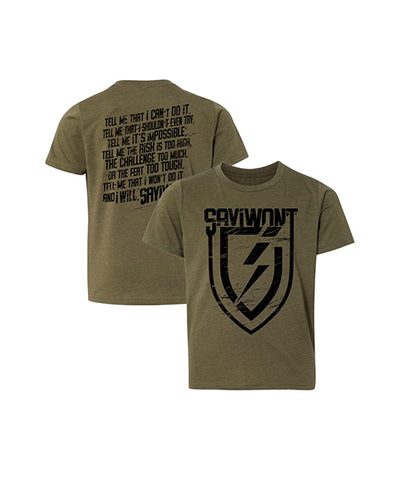 Understated Youth Creed Tee - Military Green