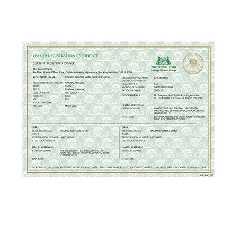 Registration Certificates