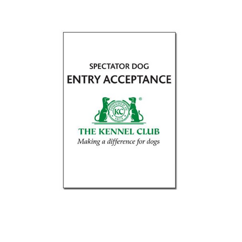 Spectator Dog Entry Acceptance Book