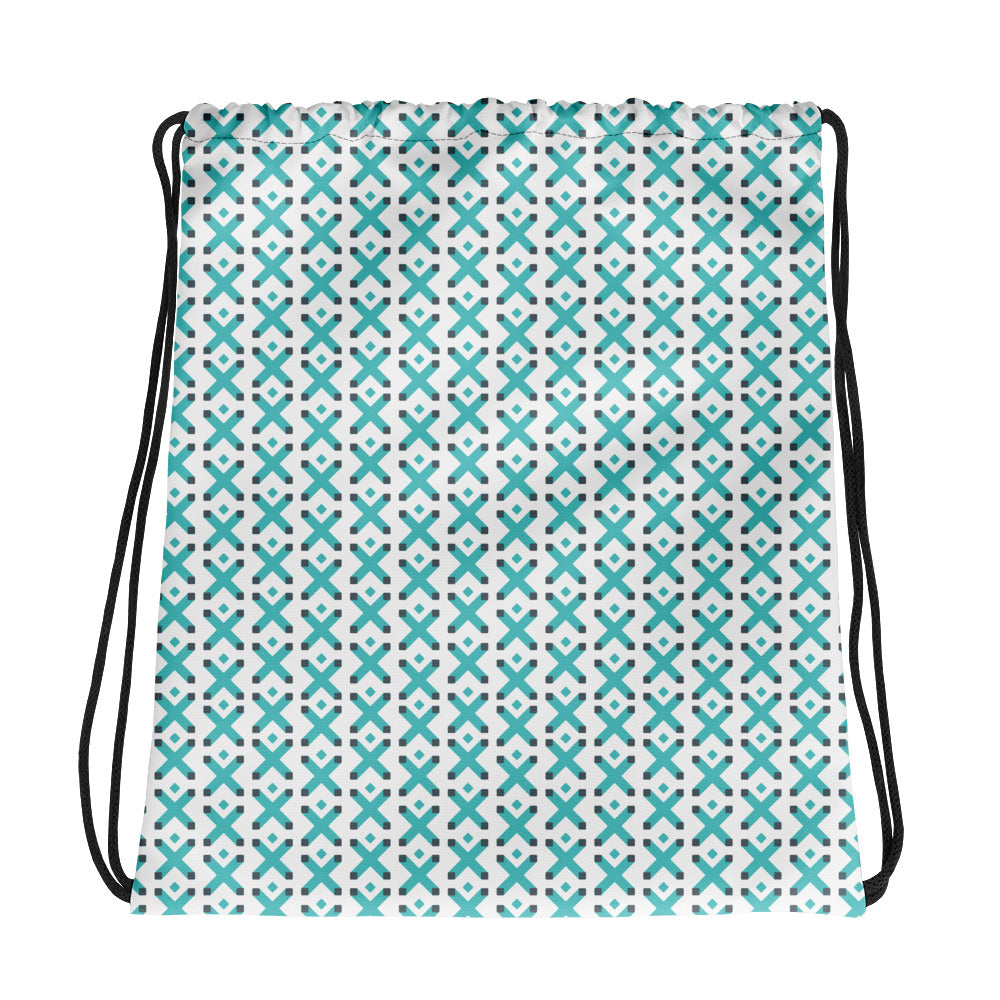Drawstring bag with teal X pattern on white background and black strings