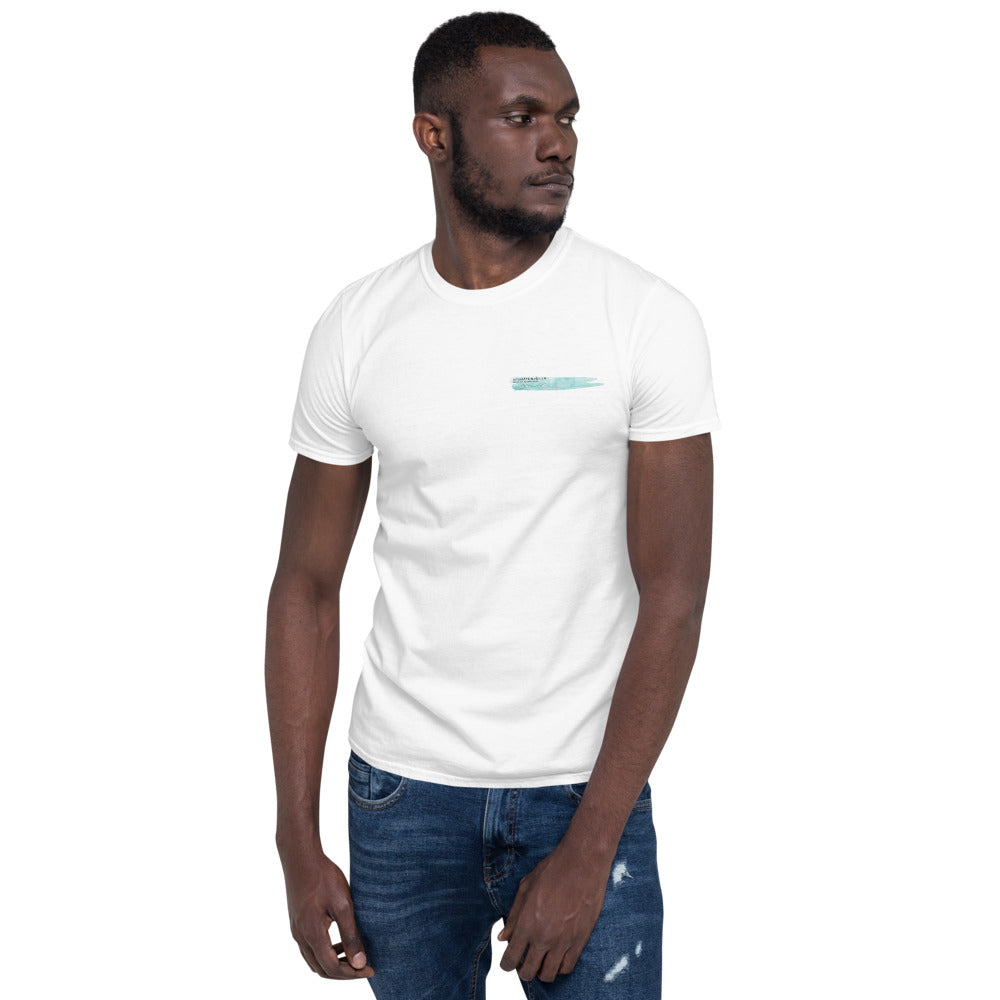 Man in white T-shirt with grey and teal Interaction 11 logo on left breast