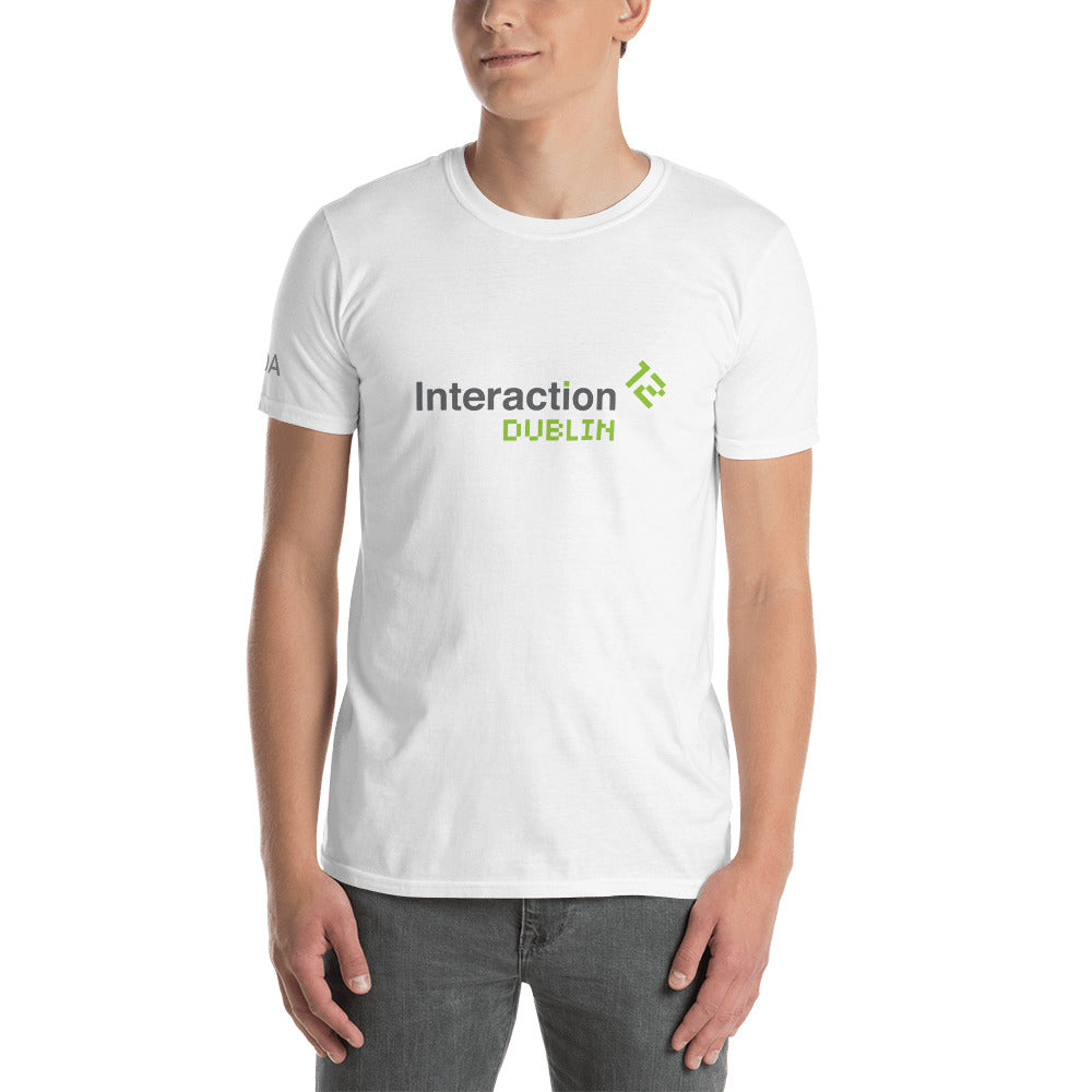Man in white T-shirt with grey and  green Interaction 12 logo on the front