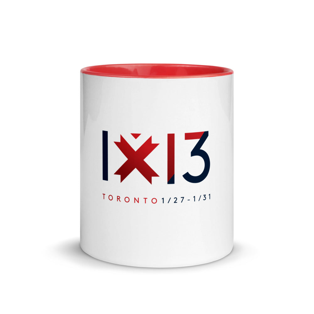 White ceramic mug with red interior imprinted with IxD13 logo