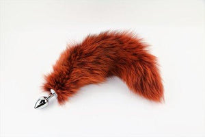 "14""-17"" Dyed Fox Tail Plug Attatchments Anal Toys Touch of Fur Rust Orange"