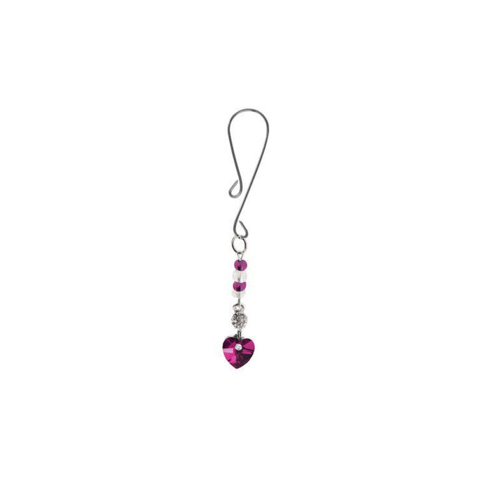 Bijoux Clitoral Jewelry with Heart Charm and Fuchsia Beads