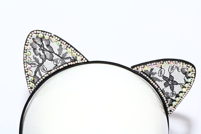 Black Lace Cat Ears with Two Rows of Gems