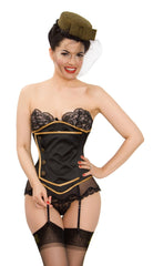 Black Satin Lilah Steel Boned Cincher Corset Lingerie & Clothing > Corsets Kinnaird Ireland