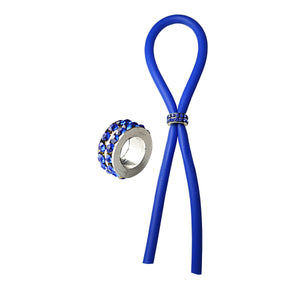 C-Ring Lasso Erection Rings Bolo Blue with Blue Gems