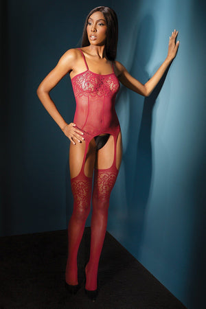 Cami top with lace print detail Lingerie & Clothing > Bodystocking Coquette Merlot